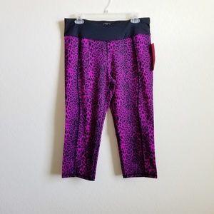 NWT Betsey Johnson Purple Leopard Capri Legging XL
